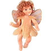 "1 3/4"" All Bisque Tiny Fairy Doll with Articulated Neck, Arms and Legs Artisan Made – 1980s"