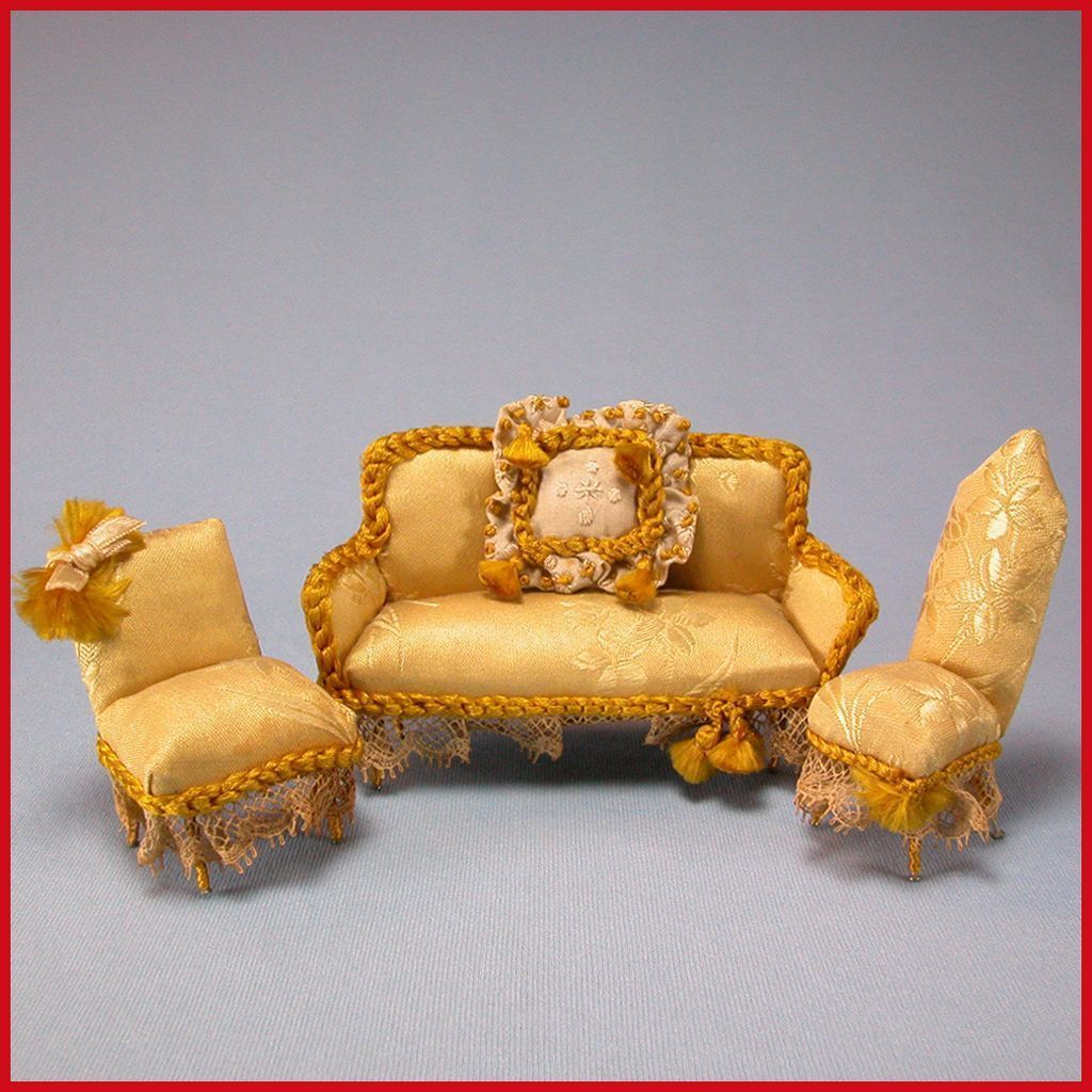 "Handcrafted Dollhouse Miniature Gold Damask Upholstered Parlor Suite 3/4"" Scale"