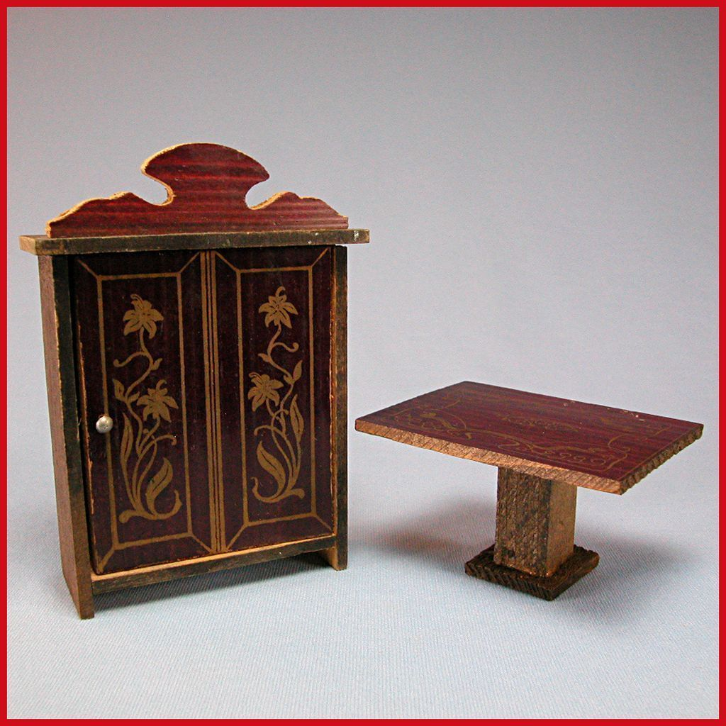 Antique German Dollhouse Stenciled Wood Armoire Table Early 1900s From . Full resolution  img, nominally Width 1024 Height 1024 pixels, img with #BB101A.