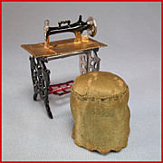 "Antique Dollhouse Painted Soft Metal Sewing Machine and Satin Stool Early 1900s 3/4"" Scale"