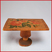 "Antique Dollhouse Wood Pedestal Table with Rose Stenciling Early 1900s 3/4"" Scale"