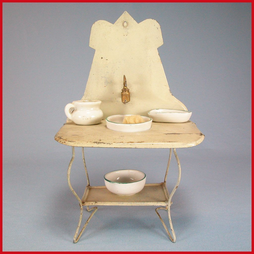 "Antique Dollhouse Cream Enameled Tin Washstand with Water Reservoir & Porcelain Bowls Early 1900s Large 1"" Scale"