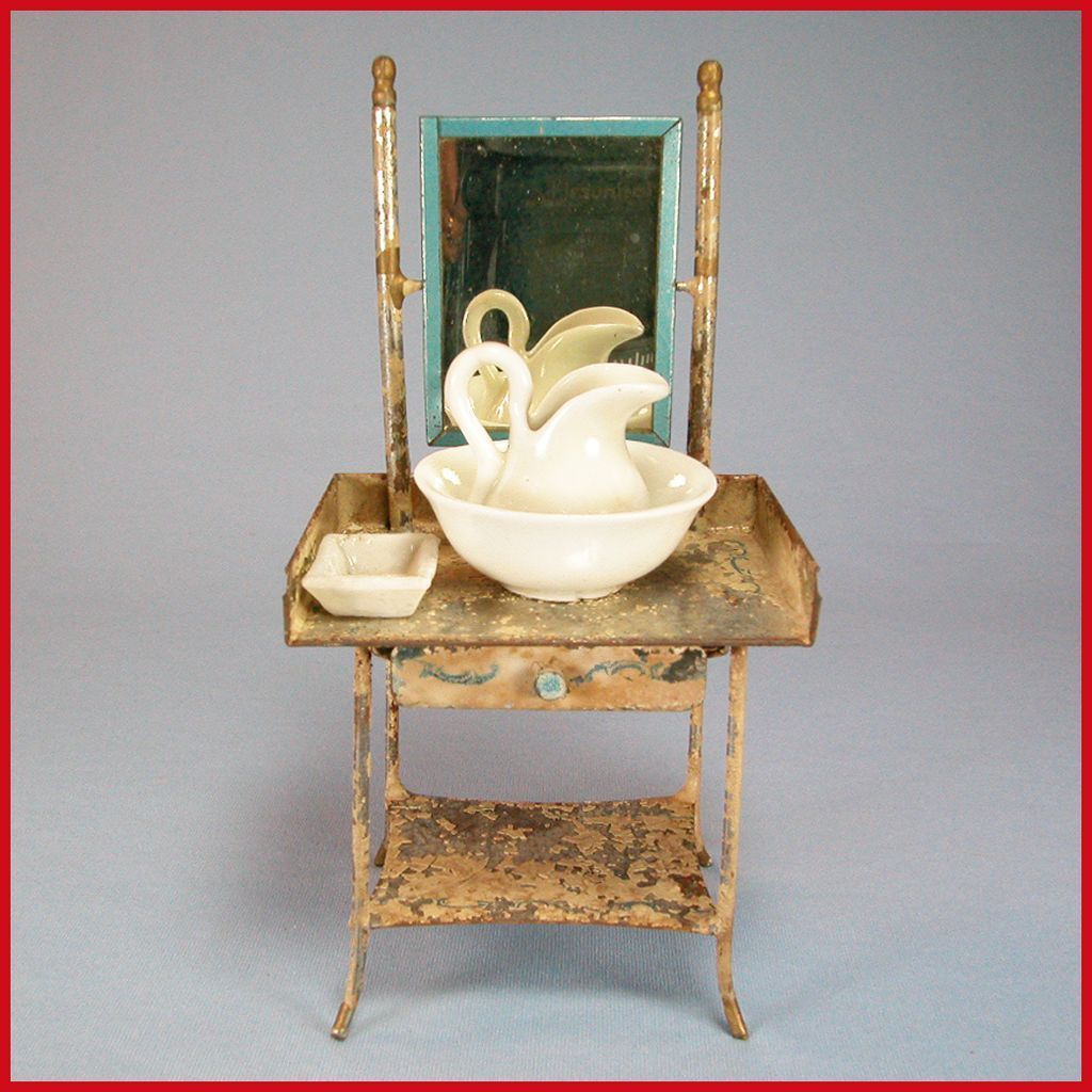 "Antique German Dollhouse Mirrored Tin Washstand with Porcelain Pitcher &Bowl, and Soap Dish Early 1900s 1"" Scale"