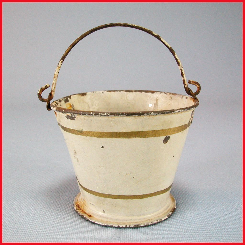 Antique German Sheet Metal Marklin Bucket or Pail 1900s Doll Size
