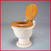 "German Dollhouse White Porcelain Toilet with Hinged Oak Seat and Lid Early 1900s Large 1"" Scale"