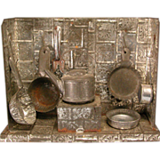 """Antique German Toy Miniature Tin Kitchen with Utensils Late 1800s 1/2"""" Scale"""