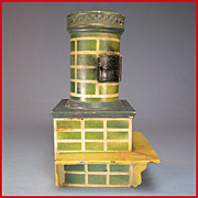 "German Dollhouse Painted Tin Corner Stove with Bench Early 1900s Large 1"" Scale"