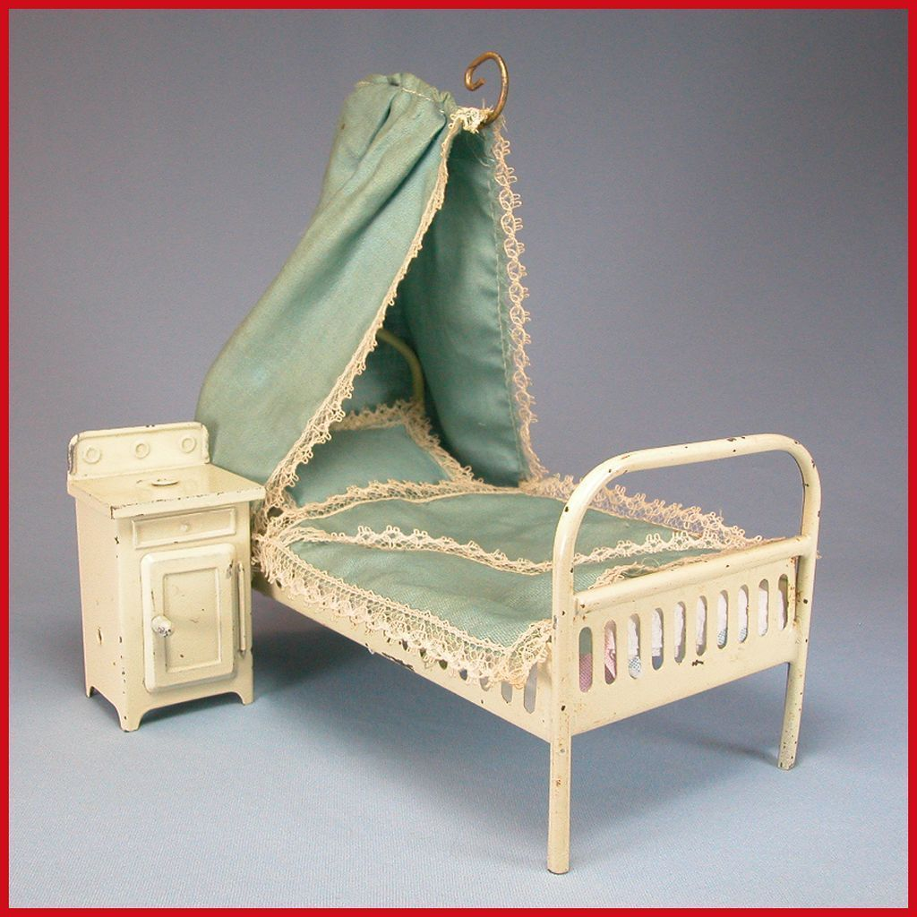 "Antique German Dollhouse Enameled Tin Canopy Bed with Nightstand Early 1900s Large 1"" Scale"