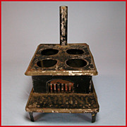 "Antique Dollhouse Black Painted Tin 'DARLING' Cookstove with 4 Burners 1881 Large 1"" Scale"