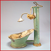"Antique Dollhouse Enameled Tin Hip Bath with Hand Pump Shower Early 1900s 1"" Scale"