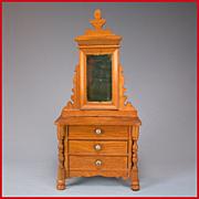 "Antique German Dollhouse Schneegas Dresser with Swivel Mirror Late 1800s 1"" Scale"