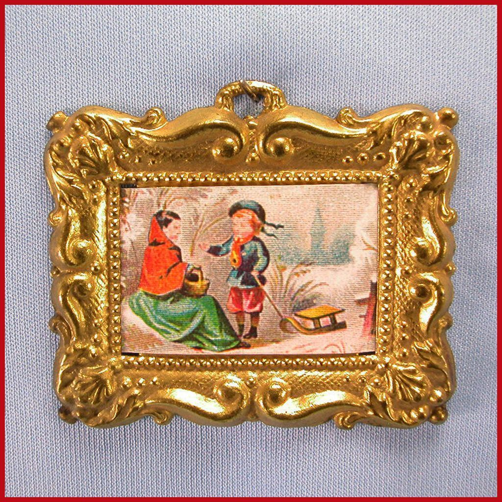 "Antique Dollhouse Ormolu Frame with Lithograph Floral Print Late 1800s 1"" Scale"