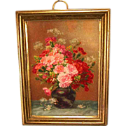 "Antique German Dollhouse Ormolu Frame with Lithograph Floral Print by Erhard & Son 1910 – 1930s 1"" Scale"