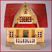 "Antique Gottschalk Red Roof Dollhouse with Three Rooms 1914 – 1915 3/4"" Scale"