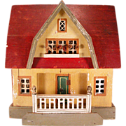 """Antique Gottschalk Red Roof Dollhouse with Three Rooms 1914 – 1915 3/4"""" Scale"""