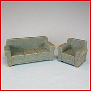 "Strombecker Dollhouse Wide Arm Sofa & Club Chair Set – Blue Flocked Early 1950s 3/4"" Scale"