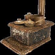"Antique Dollhouse Black Painted Tin 'Union' Cookstove with 4 Burners & Pots & Pans Large 1"" Scale"