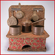 "Antique American Dollhouse Embossed Tin Cookstove with Utensils by Leo Schlesinger, Inc. 1880s – 1900 Large 1"" Scale"