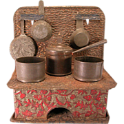 """Antique American Dollhouse Embossed Tin Cookstove with Utensils by Leo Schlesinger, Inc. 1880s – 1900 Large 1"""" Scale"""