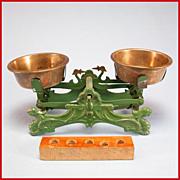 "Antique German Miniature Cast Metal Balance Scale Late 1800s Large 1"" Scale"