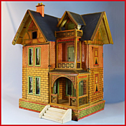"Antique Gottschalk Blue Roof Dollhouse with Two Large Rooms & Attic Early 1900s Small 1"" Scale"