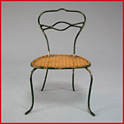 "Antique German Dollhouse Rock and Graner  Bent Wire Side Chair with Faux Cane Seat  1860s – 1880s Large 1"" Scale"