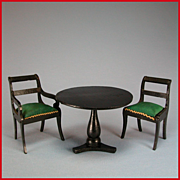 "Antique German Biedermeier Dollhouse Arm Chair, Side Chair & Table Mid Victorian Large 1"" Scale"