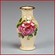 "Dollhouse Miniature Porcelain Dark Pink Rose Luster Vase by Vincent Stapleton 1995 1"" Scale"