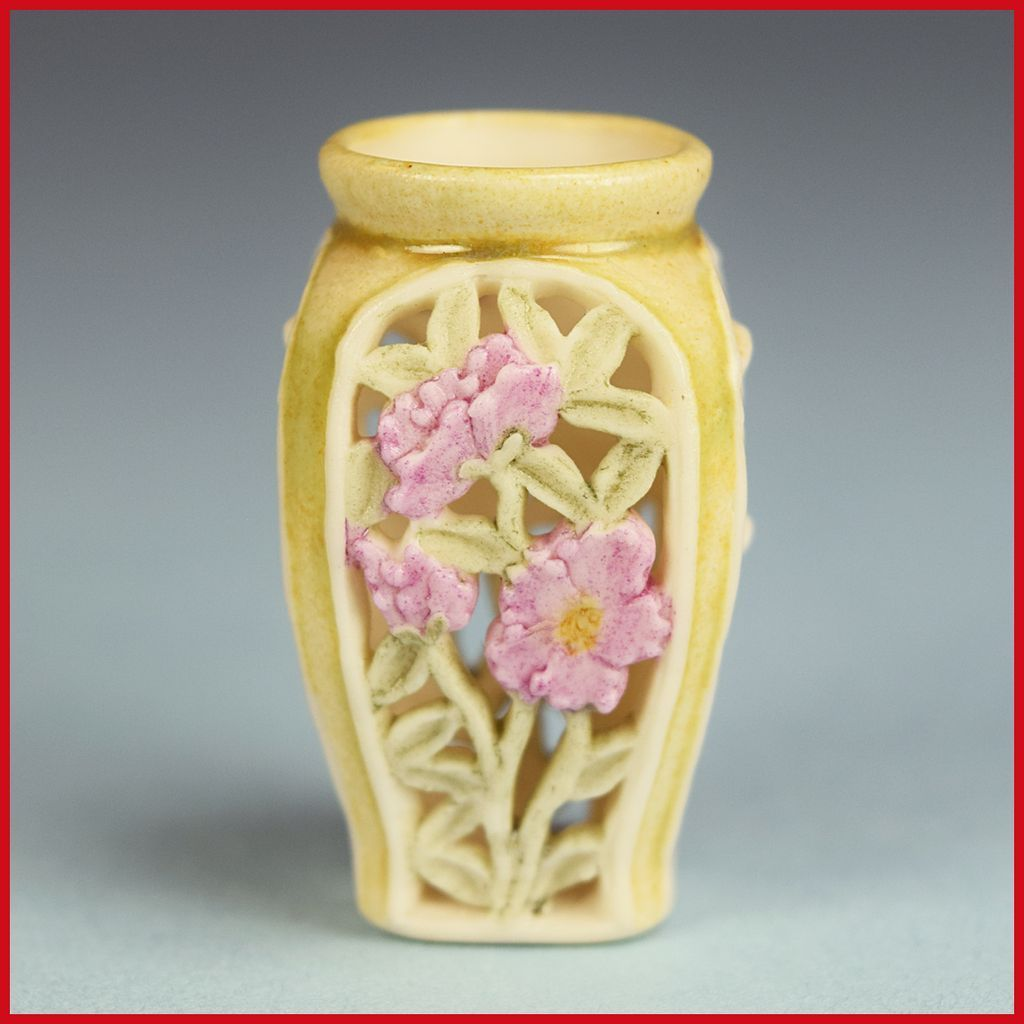 "Dollhouse Miniature Unglazed Porcelain Openwork Vase by Vincent Stapleton – Peonies and Bamboo 1989 1"" Scale"