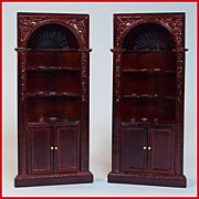 """Pair of Dollhouse Miniature Corner Cabinets by Bespaq Early 1990s 1"""" Scale"""