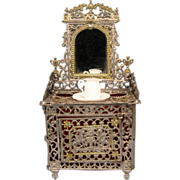 """Antique German Dollhouse Soft Metal Mirrored Vanity with Bristol Glass Pitcher & Bowl Late 1800s Small 1"""" Scale"""
