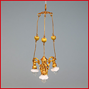 "Antique German Dollhouse 3 Arm Ormolu Electric Chandelier by Erhard & Son 1900s 1"" Scale"
