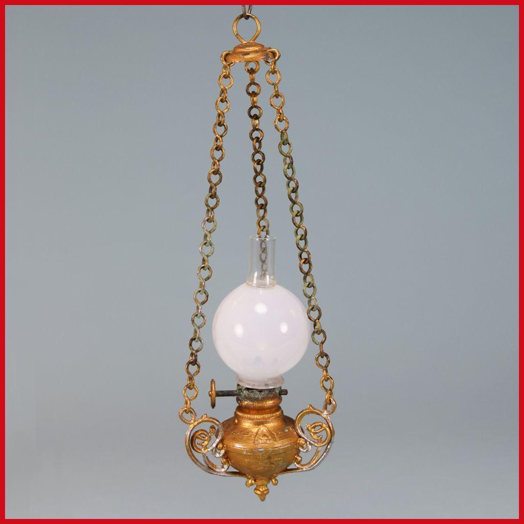 Antique German Dollhouse Hanging Kerosene Lamp With