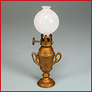 "Antique German Dollhouse Working Gilt Kerosene Lamp with Bristol Glass Globe Large 1900s Large 1"" Scale"