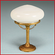 "Antique German Dollhouse Gilt Soft Metal Table Lamp with Milk Glass Shade Early 1900s Large 1"" Scale"