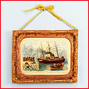 "Nautical Lithograph Print under Glass in Stamped Brass Frame with Copper Engraved Liner Mid 1800s 1"" Scale"