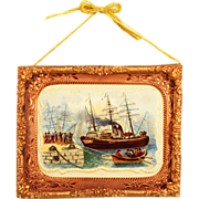 """Nautical Lithograph Print under Glass in Stamped Brass Frame with Copper Engraved Liner Mid 1800s 1"""" Scale - Red Tag Sale Item"""