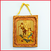 """Children at Play Lithograph Print under Glass in Stamped Brass Frame with Copper Engraved Liner Mid 1800s 1"""" Scale"""