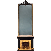 """Antique German Dollhouse Rock and Graner Fireplace with Overmantel from the Rothenburg Toy Museum 1860s – 1870s Large 1"""" Scale"""