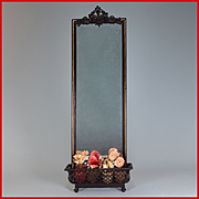 "Antique German Dollhouse Rock and Graner Tall Mirrored Planter with Flowers from the Rothenburg Toy Museum 1860s – 1870s Large 1"" Scale"