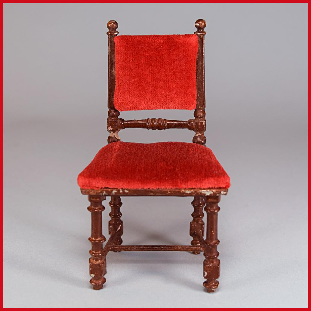 "Antique German Dollhouse Rock and Graner Side Chair from the Rothenburg Toy Museum 1860s – 1870s Large 1"" Scale"
