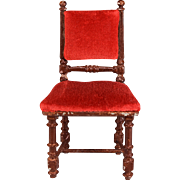 """Antique German Dollhouse Rock and Graner Side Chair from the Rothenburg Toy Museum 1860s – 1870s Large 1"""" Scale"""