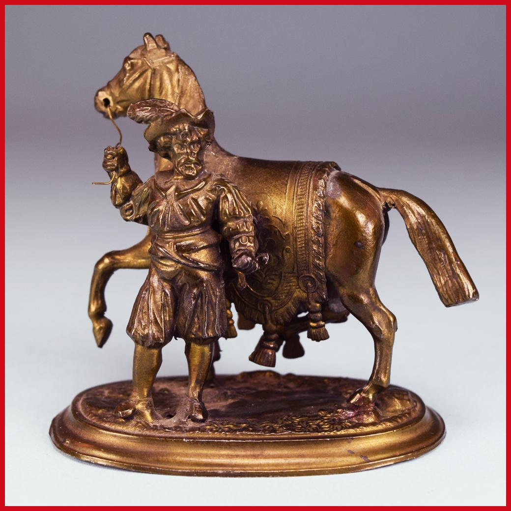 "2 1/2"" Miniature Bronze Renaissance Man and Horse Statue Large 1"" Scale"