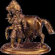 """2 1/2"""" Miniature Bronze Renaissance Man and Horse Statue Large 1"""" Scale"""