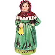 "Signed Antique Porcelain Dollhouse Miniature Lady Figurine in Green Dress 1"" Scale"