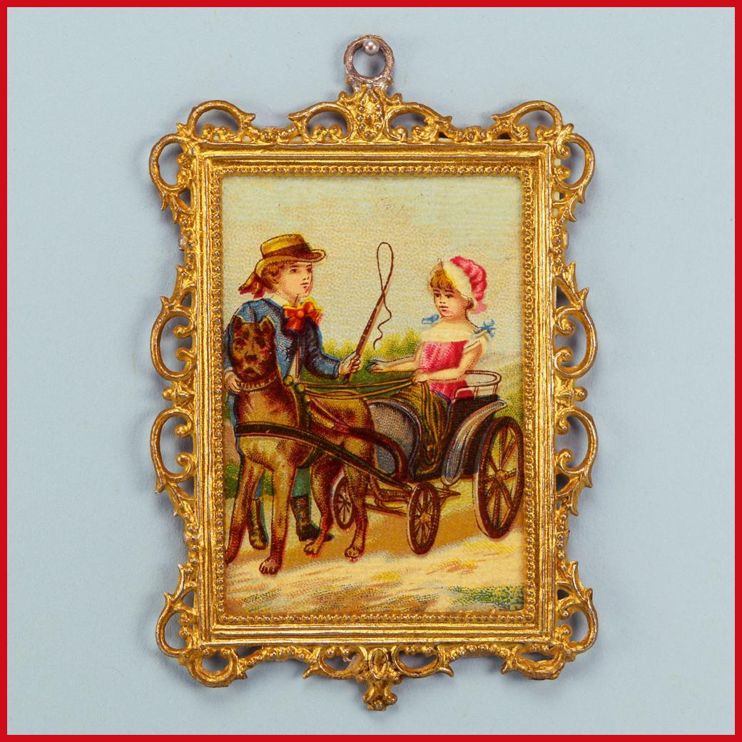"Antique German Dollhouse Gilt Soft Metal Picture Frame with Lithograph Print of Boy and Girl with Dog Cart Late Victorian 1"" Scale"