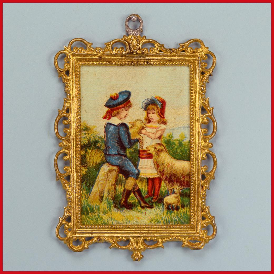 "Antique German Dollhouse Gilt Soft Metal Picture Frame with Lithograph Print of Boy and Girl with Sheep Late Victorian 1"" Scale"