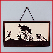 """Antique German Dollhouse Silhouette Picture Pied Piper of Hamelin Early 1900s Large 1"""" Scale"""