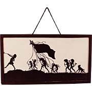 "Antique German Dollhouse Silhouette Picture Pied Piper of Hamelin Early 1900s Large 1"" Scale"