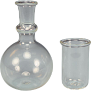 """Dollhouse Miniature Hand Blown Carafe and Drinking Glass Set Large 1"""" Scale"""
